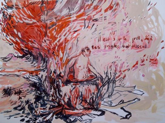 """""""Sur le grill"""", huile sur papier, 40 X 50 , 2103"""