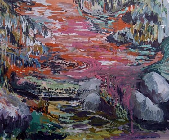""""""" Oeil pour œil """", huile sur papier, 40 X 50 , 2013."""